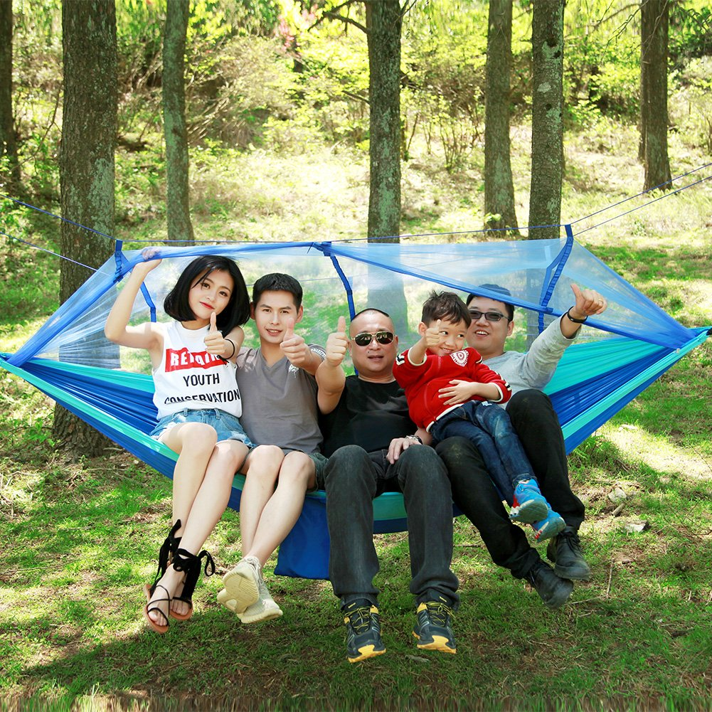 Hulorry Hammock with Mosquito Net Portable, Double Outdoor Hammock Portable Hammock Chair Garden Beach Backyard with Mosquito Net Hanging Swing for Hiking,Travel,Camping Lightweight Parachute