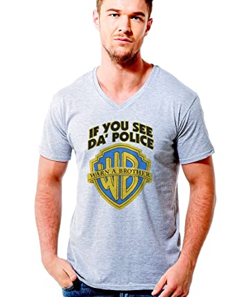 243c70204 COLORJAZZ If You see police warn a brother warner brothers inspired funny  men v neck t shirt: Amazon.co.uk: Clothing