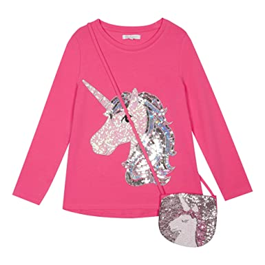 8fc1eef69 bluezoo Kids Girls  Unicorn Print Pink Sequined Top with A Bag Age ...