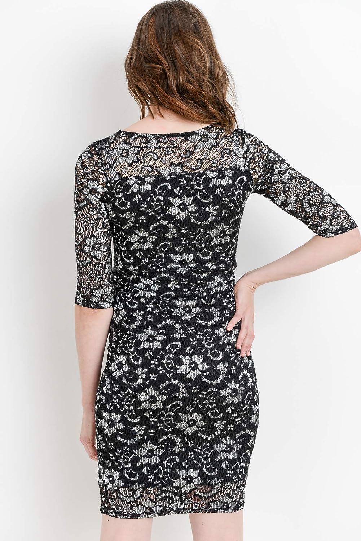 Hello MIZ Womens Floral Lace Sleeveless Knee Length Maternity Dress