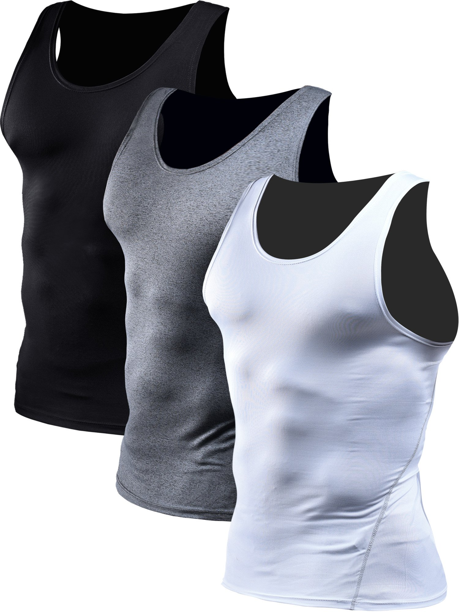 Neleus Men's 3 Pack Athletic Compression Under Base Layer Sport Tank Top,01,Black,Grey,White,L,EUR XL by Neleus
