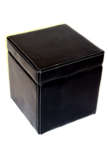 4D Concepts Faux Leather Box Ottoman with Lift Top, Black