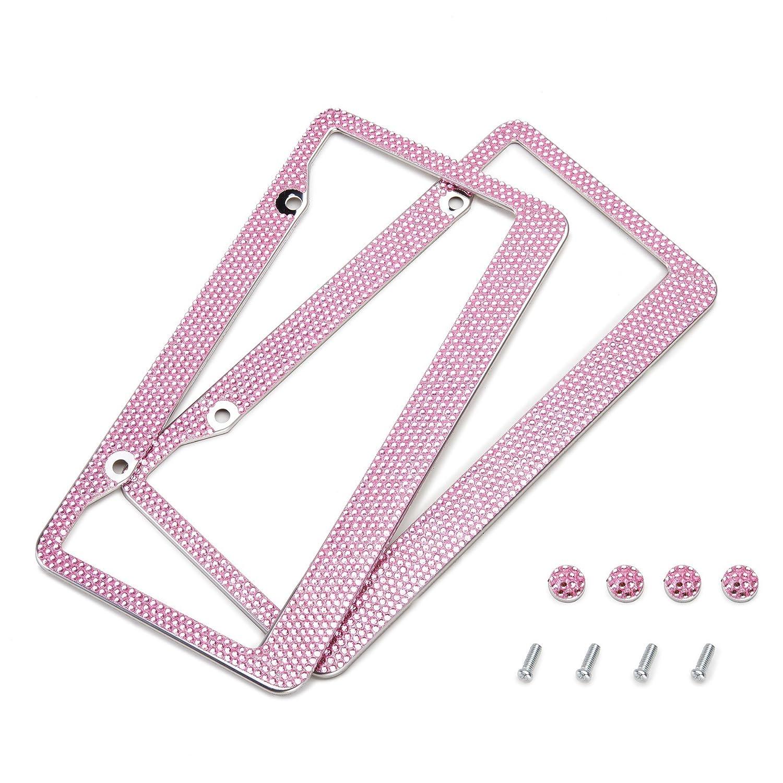 Orion Motor Tech 2 Pink Bling Crystal Rhinestone License Plate Frames + Screw Caps OMT-LPF-00PK-00
