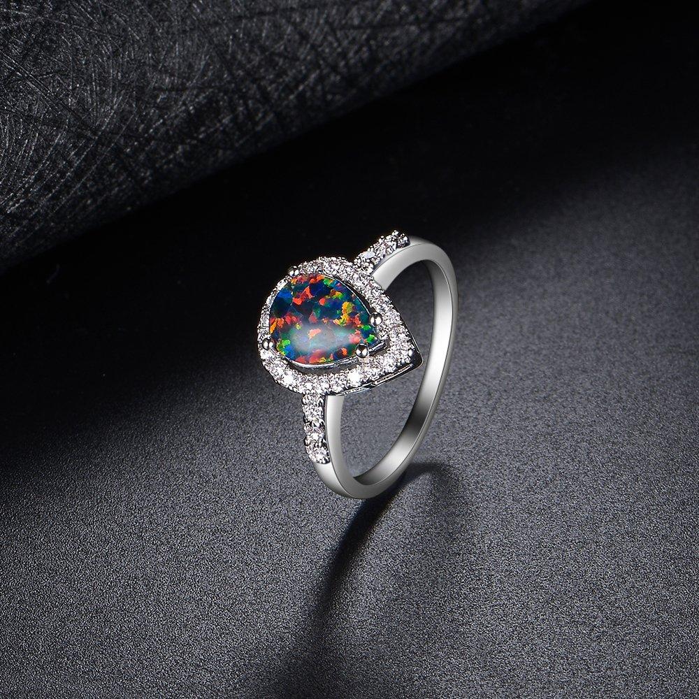Dnswez Teardrop CZ Cubic Zirconia Green Fire Opal Ring Silver Statement Band Ring(8)