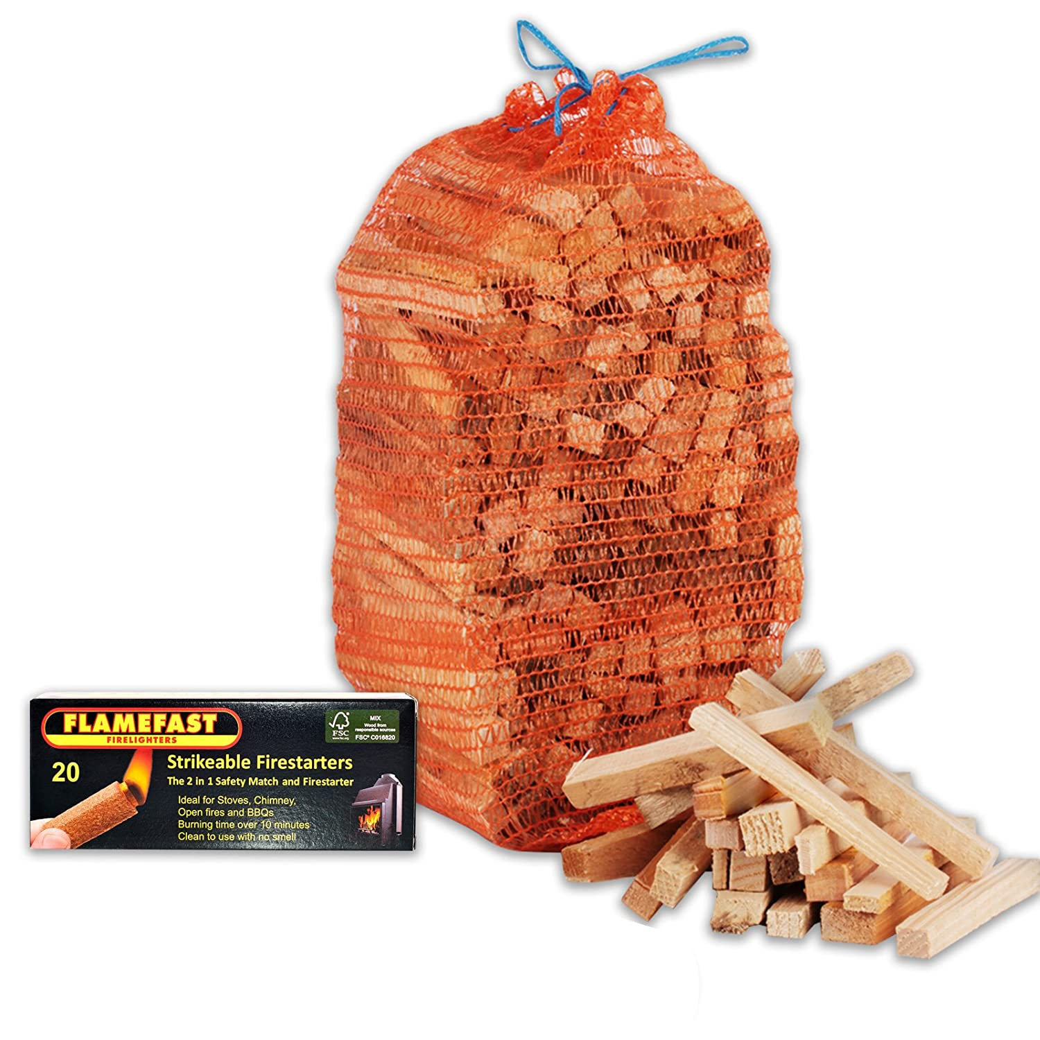 1 X Pack of 20 Flamefast Strikeable Firelighters Easy to Use 2in1 Safety Match and Firestarter + 3kg Kindling + Tigerbox Safety Matches