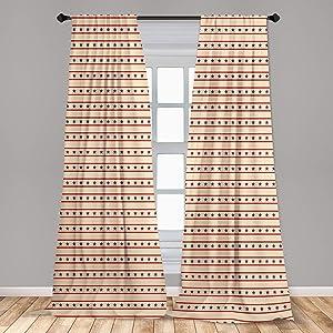 Ambesonne Prehistoric Country Curtains, Horizontal Borders Patriotic Stars Nostalgic USA Design Pattern, Window Treatments 2 Panel Set for Living Room Bedroom Decor, 56