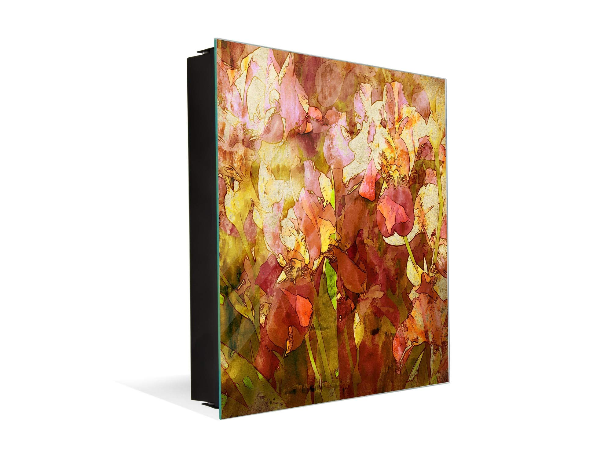 Wall Mount Key Box Together with Decorative Dry Erase Board K14 Worldly Motives: Orchids