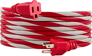 PHILIPS Red/White, 15 Ft. Outdoor Extension Cord, Use for Holiday Lights, Christmas Tree and Other Décor, Candy Cane, SPS1012RE/27