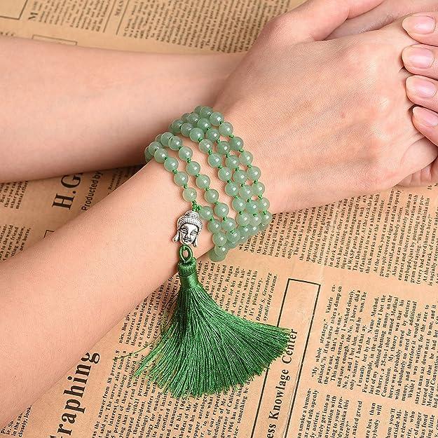 JSDDE 108 Prayer Beads Mala Wrap Bracelet, Natural Crystal Quartz
