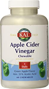 KAL Chewable Tablets, Apple Cider Vinegar, 500 mg, 60 Count