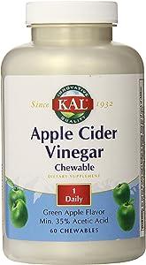 KAL Chewable Tablets, Apple Cider Vinegar, 500 mg, 60 Count
