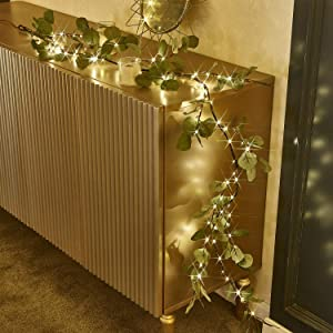 Hypestar Artificial Lighted Eucalyptus Garland| Warm White 96LED 6FT Battery Operated with Timer| Tabletop Decoration Centerpiece|Vine Lights for for Wedding Party Holiday Home Christmas Decoration