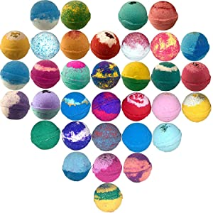 10 Large Bath Bombs USA Made Gift Set - Bath Fizzies -Over 200 Different Varieties, Assorted Gift Box Vegan Kids Love Them Perfect Gift For Her Organic Shea Butter