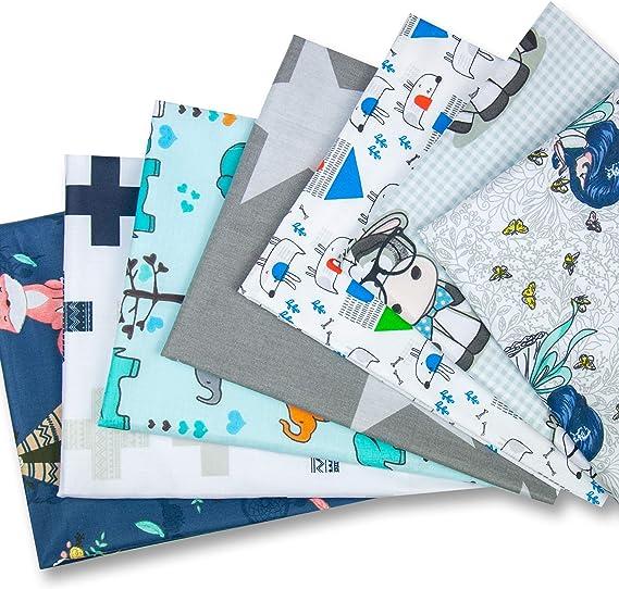 Stoffe zum N/ähen Patchwork Stoff Paket Stoffreste N/ähstoffe Baumwolle /Öko-Tex DIY Baumwolltuch Blau Set OIZEN Baumwollstoff Meterware Stoffpaket 8 St/ück je 50 x 80 cm