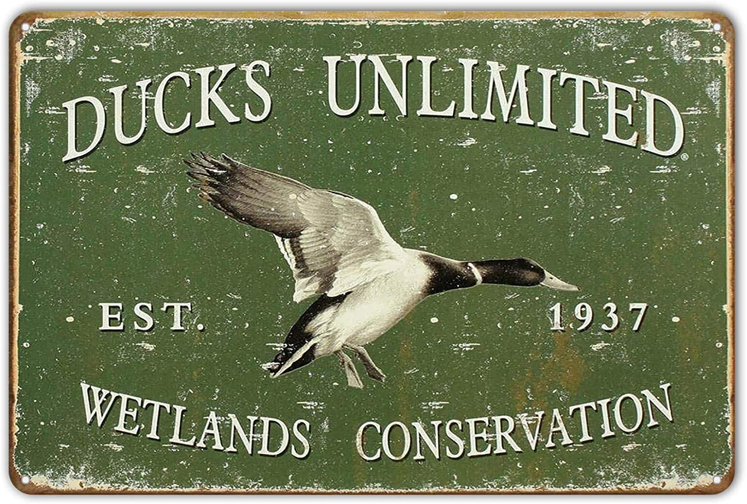 ZYPENG Metal Tin Sign Ducks Unlimited Since 1937 Vintage Style Hunt Cabin Wall Decor 8 x 12 inches