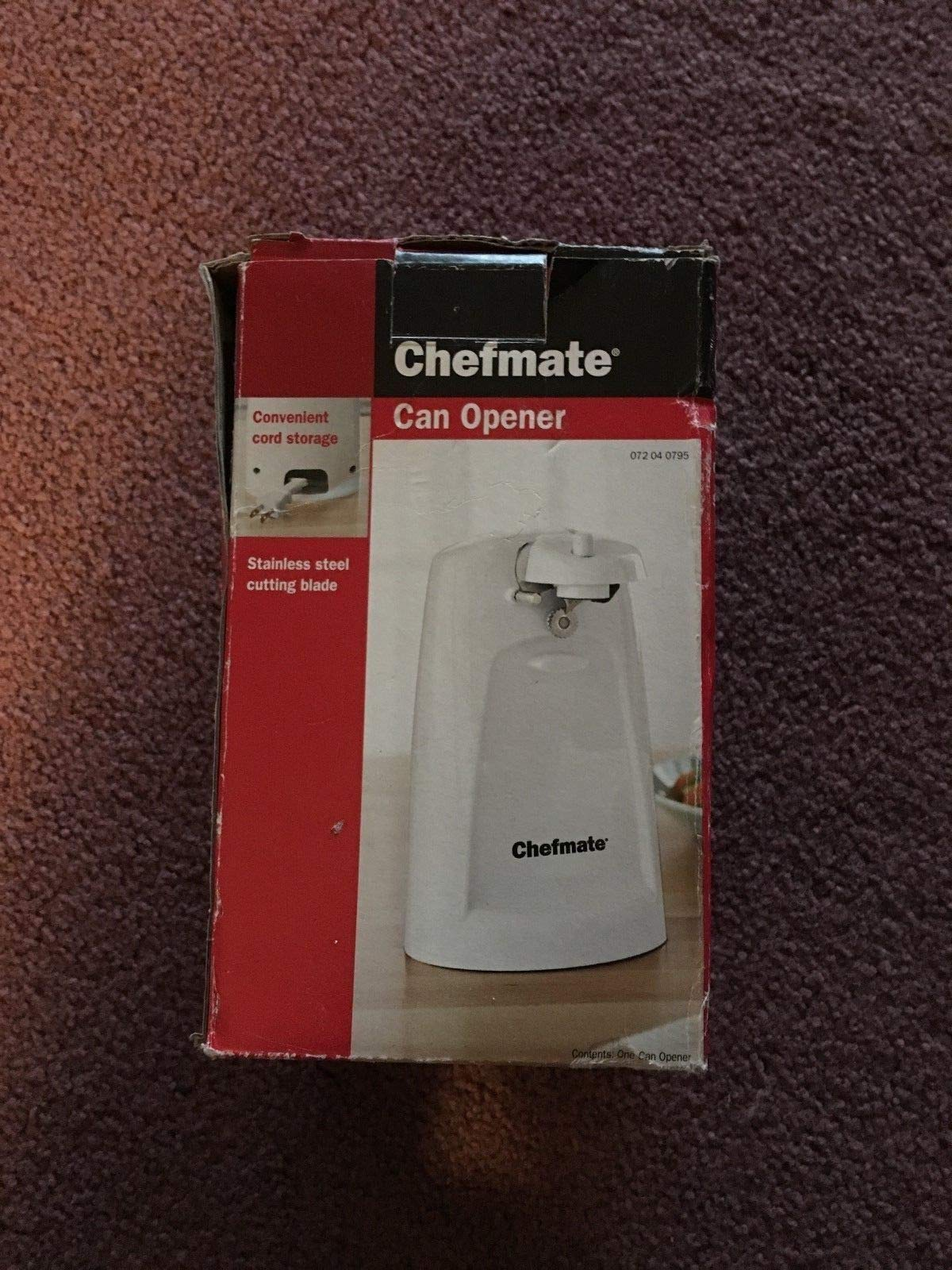 Chefmate Electric Can Opener, White, Vintage by Chefmate