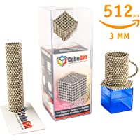 CubeGift - Original Magnets - 512pcs - 3mm. Desk Toy for Sculpturing, Stress Relief, Intelligence Development for Adults. Comes with Carrying Case, Cut/Splitter Card, Quick Starter Guide