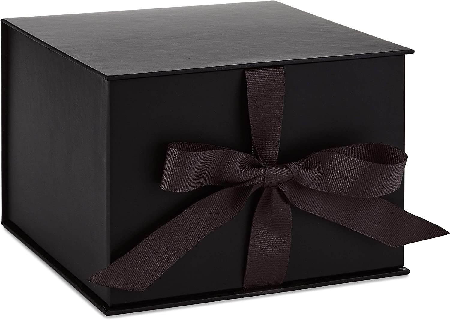 "Hallmark 7"" Large Black Gift Box with Lid and Shredded Paper Fill for Fathers Day, Graduations, Weddings, Birthdays, Grooms Gifts, Engagements, Christmas and More"