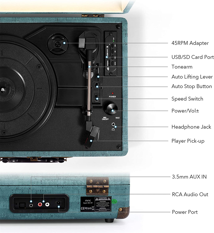 Amazon.com: Miric - Tocadiscos Bluetooth con 2 altavoces ...