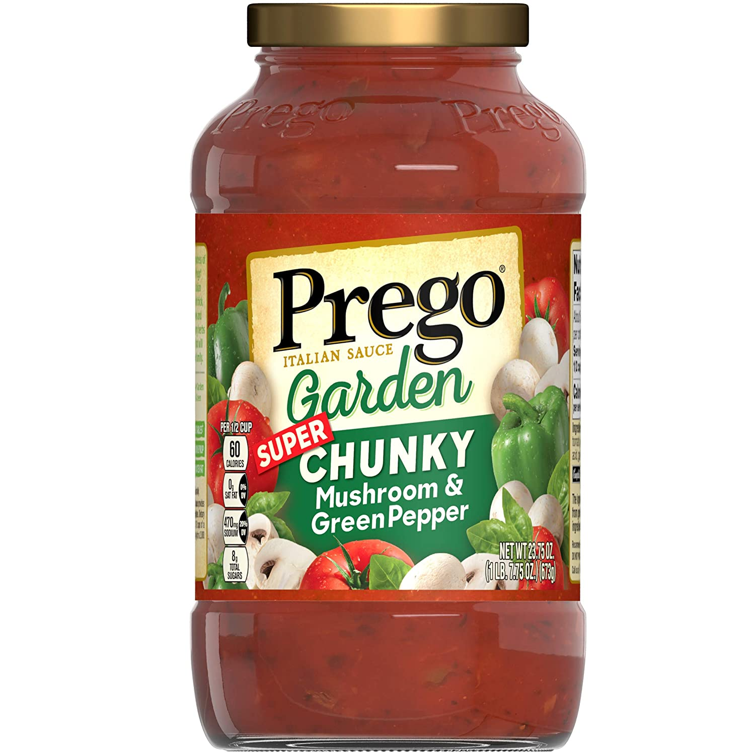Prego Garden Harvest Mushroom & Green Pepper Italian Sauce, 23.75 Ounce Jar (Pack of 6)