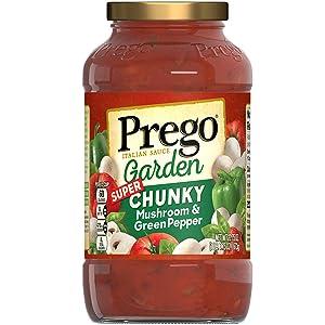 Prego Garden Harvest Mushroom & Green Pepper Italian Sauce, 23.75 Ounce Jar (Pack of 6)