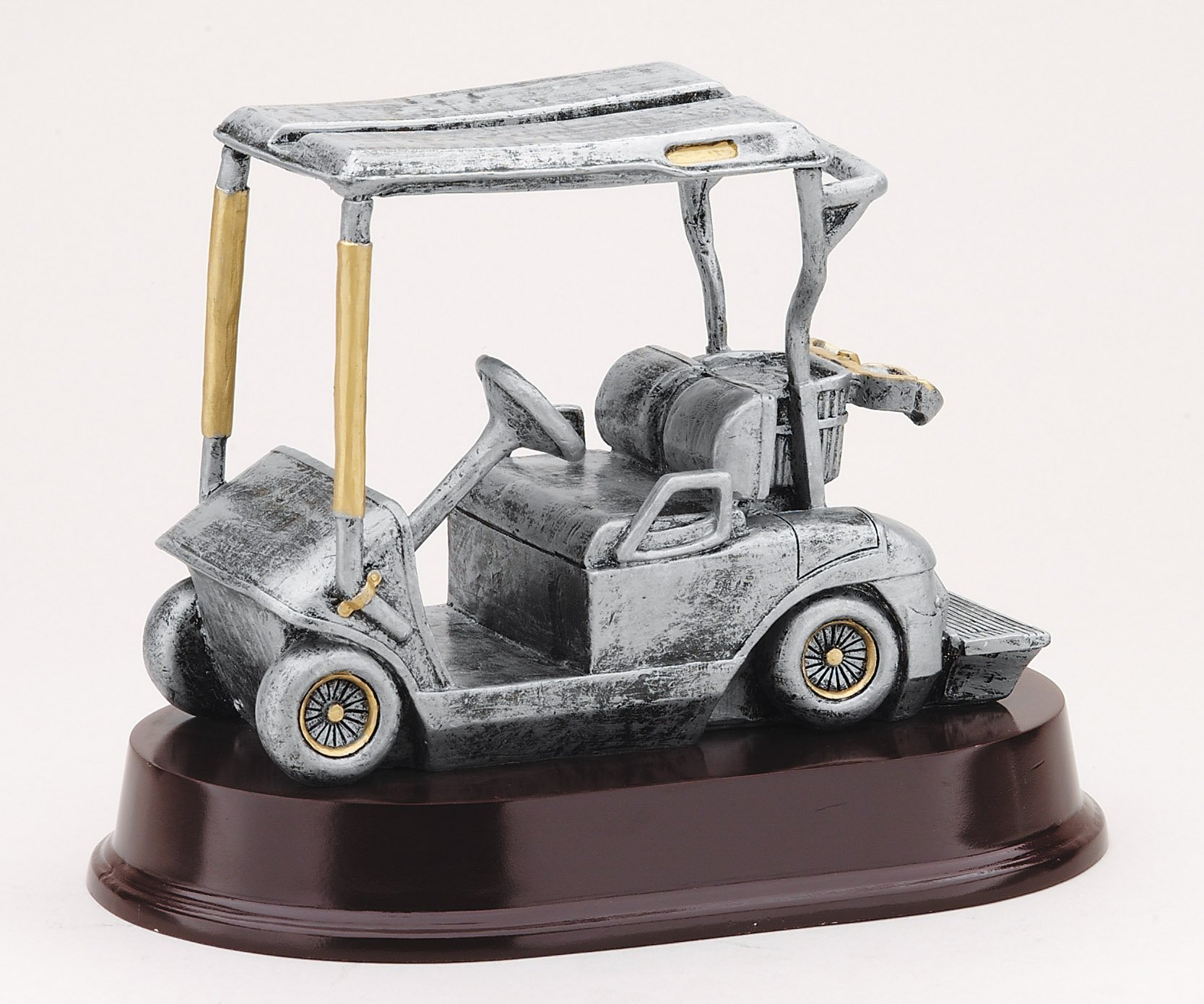 Etch Workz Customize Golf Award Trophy - RX1520SG Series Resin Golf Cart Trophy - Includes 3 Lines of Engraving - Gold Plated & Personalized Free