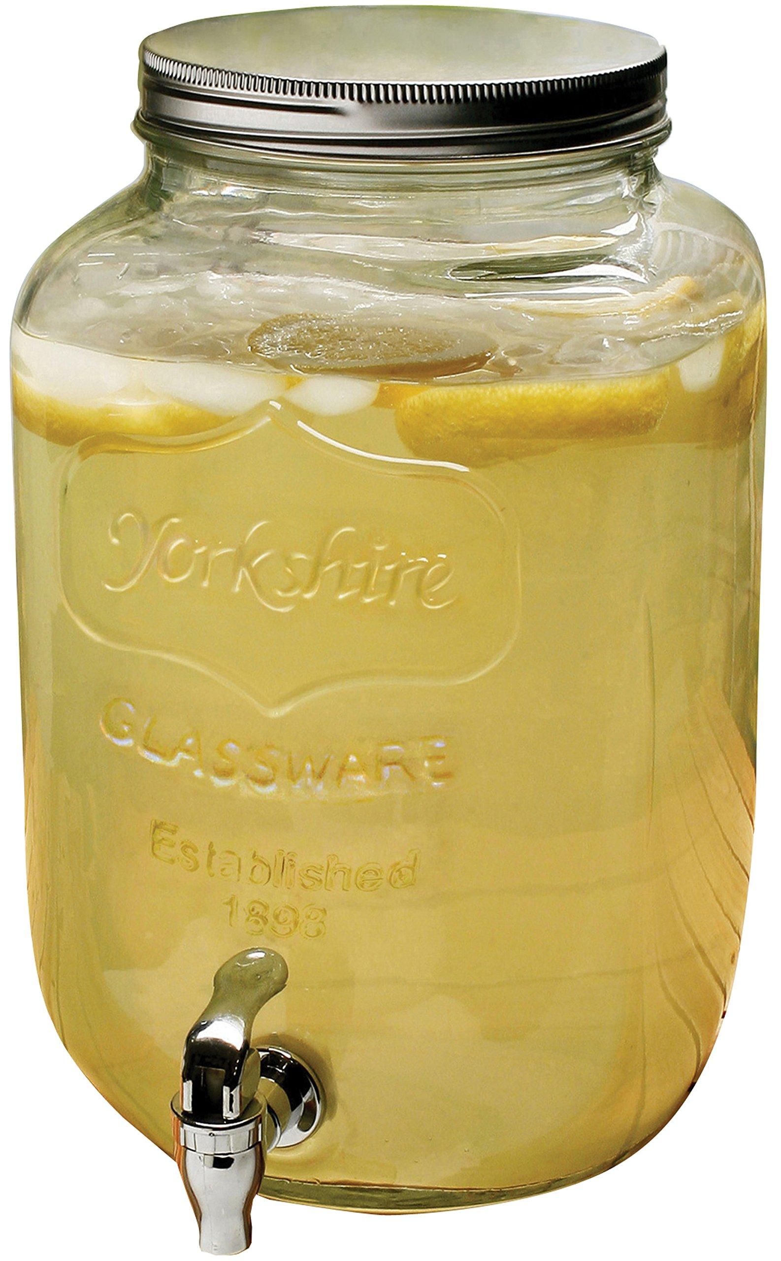 Circleware Sun Tea Mini Mason Jar Glass Beverage Dispenser with Metal Lid, Glassware For Water, Juice, Beer, Wine, Liquor, Kombucha Iced Punch & Best Cold Drinks, Classic Yorkshire 1 Gallon