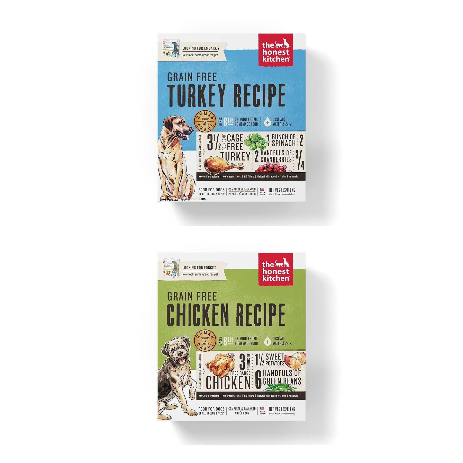Honest Kitchen Grain Free Dehydrated Dog Food 2 Pack Bundle; Turkey 2 lb. Box Chicken 2 Lb. Box. (4 Lbs.Total) by Honest Kitchen