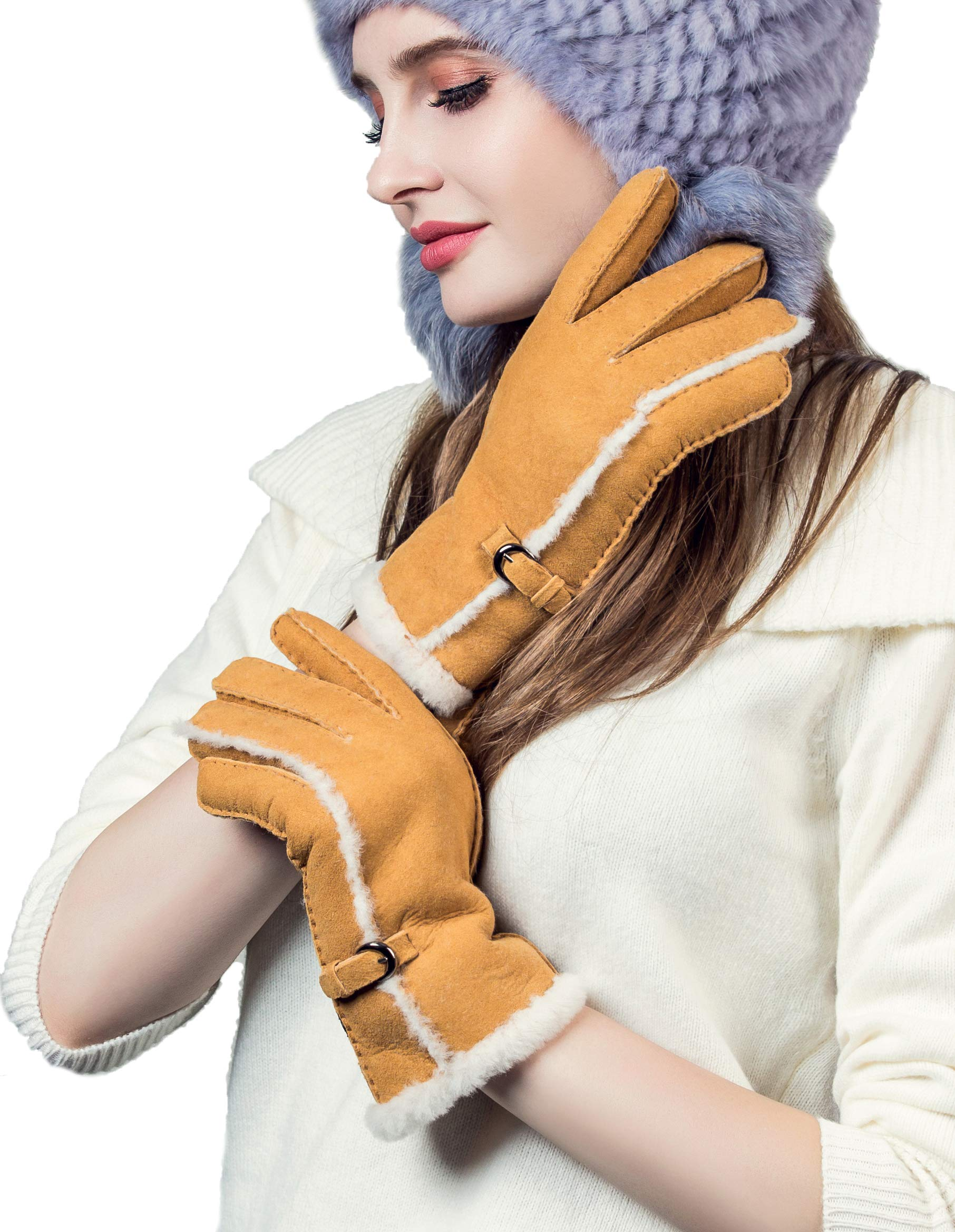 c3e84106d YISEVEN Women's Merino Rugged Sheepskin Shearling Leather Gloves Mittens  Sherpa Fur Cuff Thick Wool Lined and Heated Warm for Winter Cold Weather  Dress ...