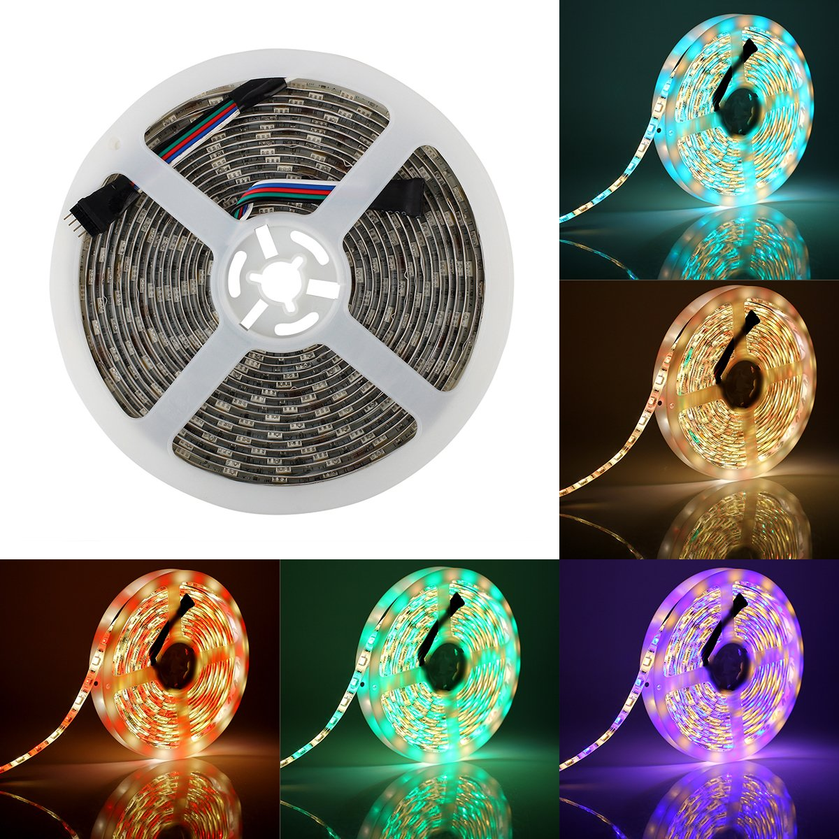 SUPERNIGHT RGBW LED Strip Light RGB Color Changing Rope Lighting with Warm White 3500K Color 16.4ft 300leds 5050 Tape Light (RGB + Warm White) by SUPERNIGHT (Image #1)