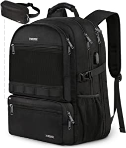 Business Backpack for Men, Extra Large Detachable 2 In 1 Backpack, TSA Friendly Travel Backpack with Waist Bag, USB Charging Port College School Bookbags Fit 17 Inch Laptops 45L, Black