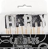 """Unique Party 34432 Nero Brillante """"Happy Birthday"""" Candele, Set di 13"""