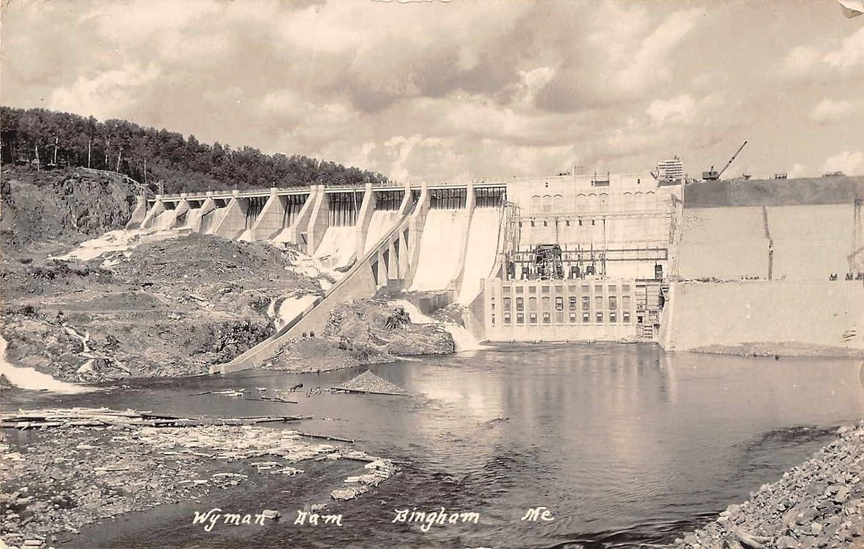 Bingham Maine Wyman Dam Scenic View Real Photo Antique Postcard