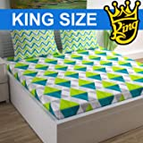 Divine Casa 100% Cotton Geometric 144 TC King Size Bedsheet with 2 Pillow Covers - Lime Teal and Off White