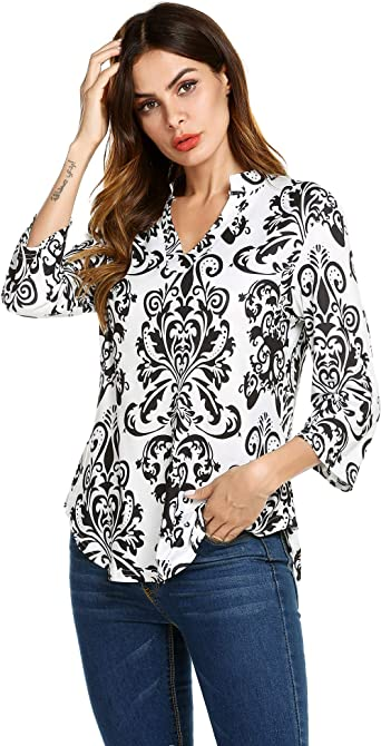 Women V Neck Pleated Loose Fit Vintage Floral Printed Loose Blouse Tunic Shirt
