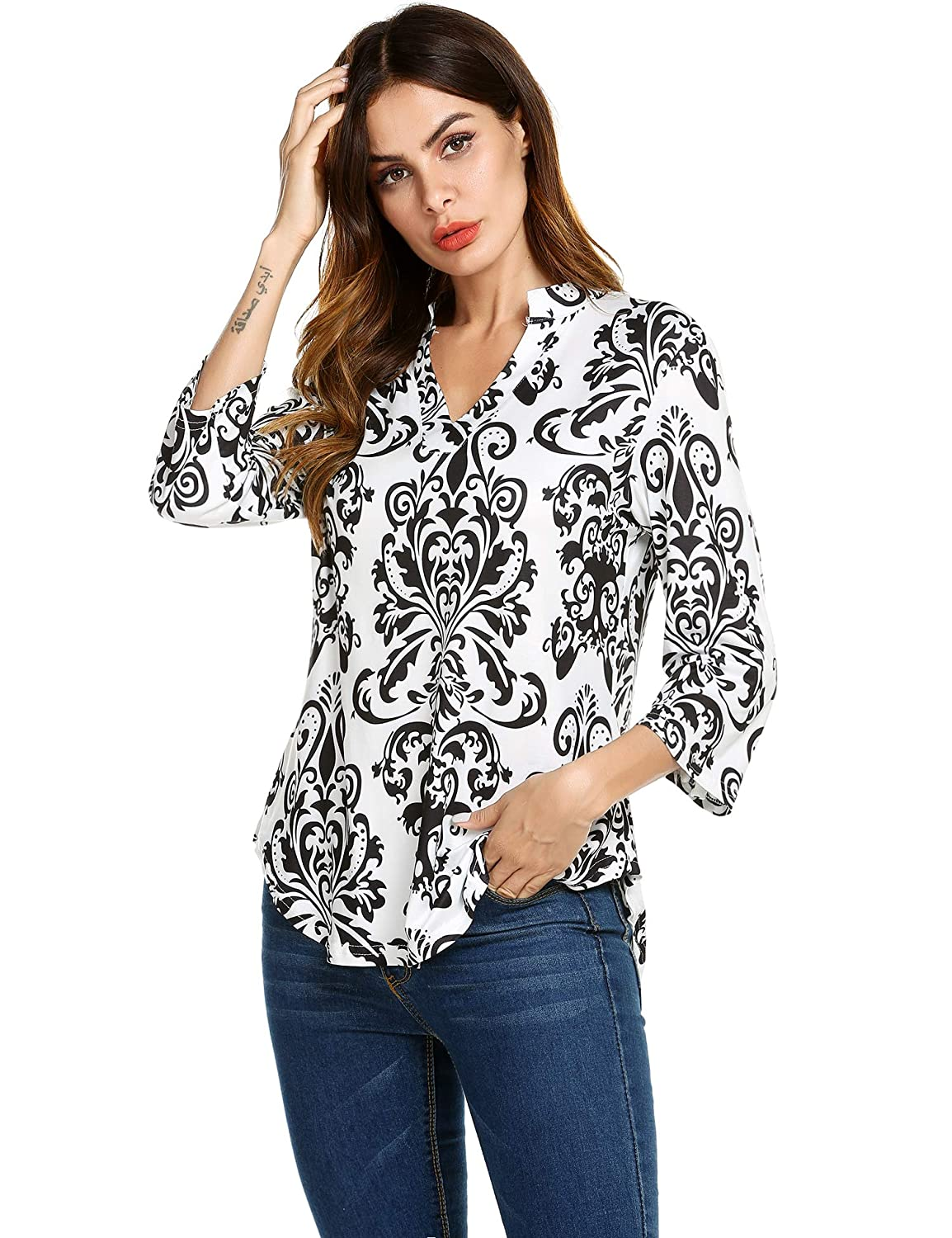 4323efe161197a Hount Womens Floral Print Tunic Shirts Casual Notch Neck 3 4 Sleeve Loose Tunic  Top Blouses at Amazon Women s Clothing store