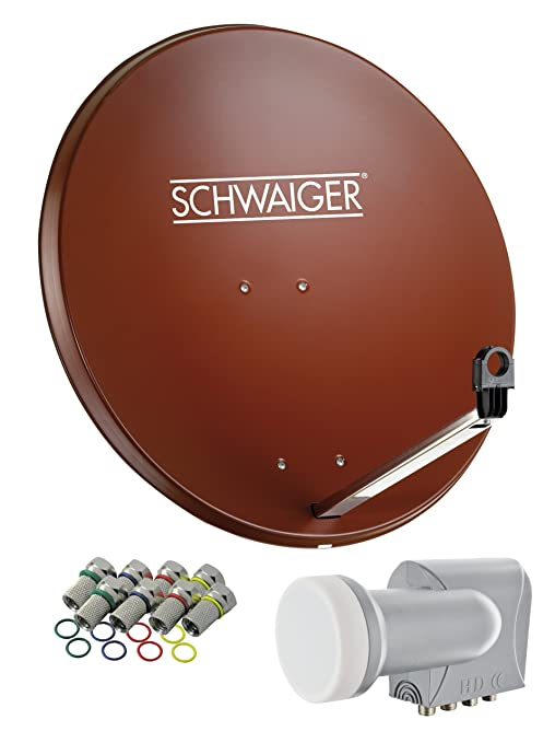 SCHWAIGER -524- Sat Anlage, Satellitenschüssel mit Quad LNB (digital) & 8 F-Steckern 7 mm, Sat Antenne aus Stahl, Ziegelrot,