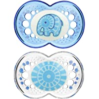 MAM Pacifiers, Baby Pacifier 6+ Months, Best Pacifier for Breastfed Babies, 'Clear' Design Collection, Boy, 2-Count