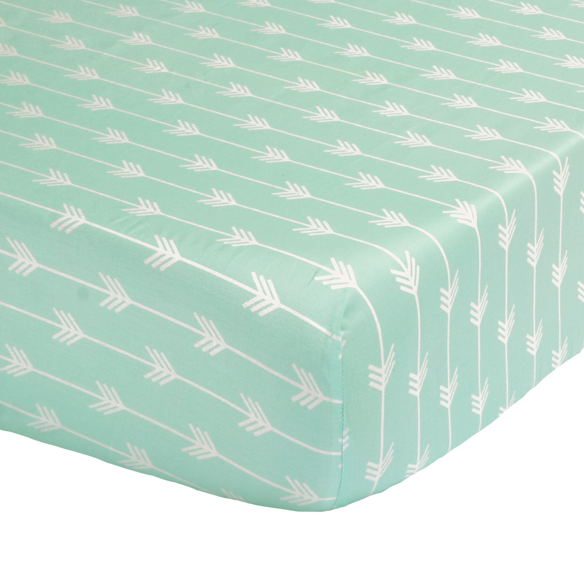 Mint Green Arrow Print Fitted Crib Sheet - 100% Cotton Baby Girl and Boy Tribal Theme Geometric Designs Nursery and Toddler Bedding