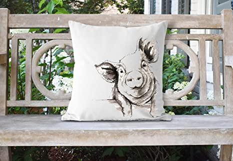Amazon.com: Watercolor Pig Almohada de 18 x 18 almohadas ...