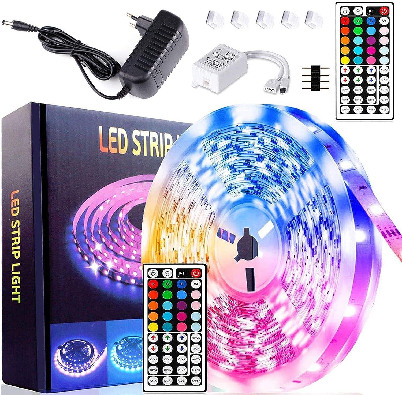 Tiras LED 10m, Luces LED Habitacion RGB 5050 con Control Remoto IR, Impermeable Ip65, 20 Colores 8 Modos, Kit Luces LED para Dormitorio, TV, Hogar, Cocina, Decoración Navideña (5M)