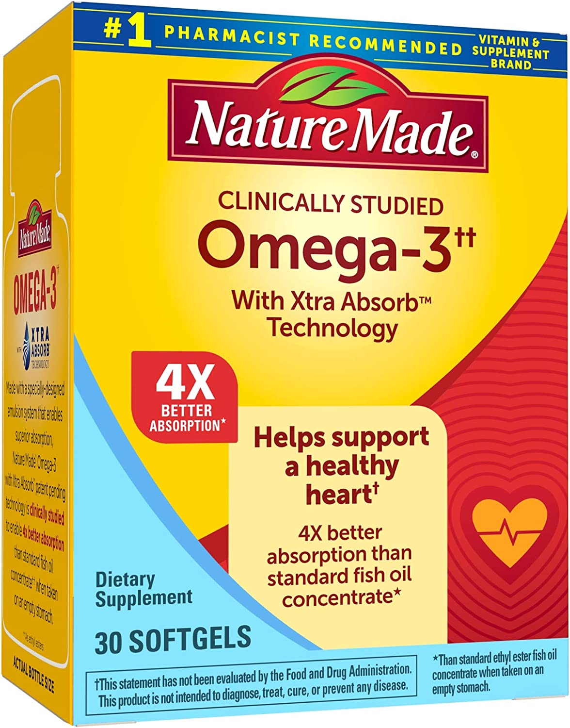 Nature Made Omega-3†† with Xtra Absorb™ Technology Softgels, 30 Count for Heart Health† (Packaging May Vary)