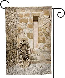 Ancient Rural Facade Detail.Old Wooden Wagon Wheel and Traditional Country House,Welcome Garden Flag Double Sided Farmhouse Burlap Yard Outdoor Decoration 12.5''x18''