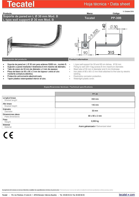 Tecatel K60C1LS - Kit parabólica de 60 cm (Soporte y LNB Universal), Color Blanco: Amazon.es: Electrónica