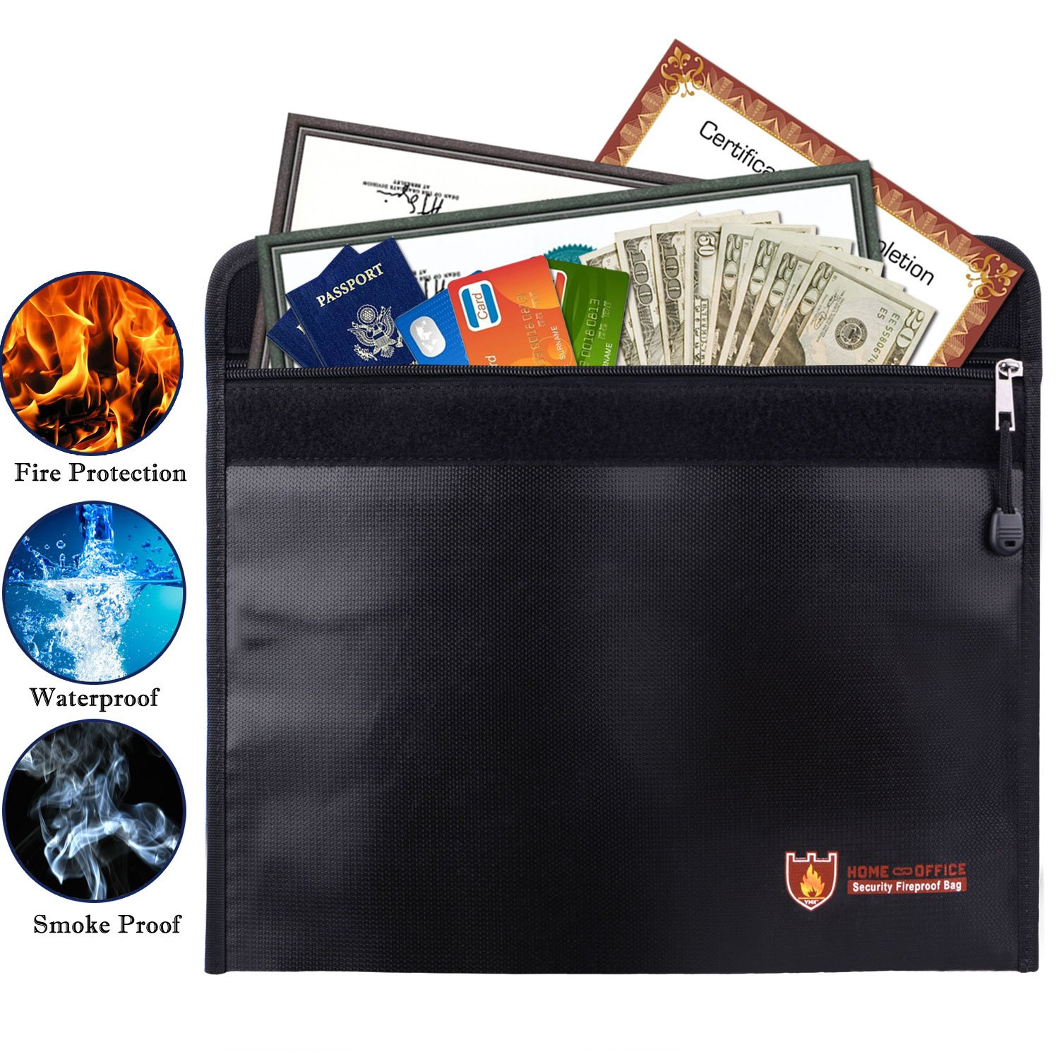 Fireproof Document Bag,Silicone Coated Fire Resistant/Water Proof Money Bag Fireproof Safe Storage,Protect Your Valuables,Documents,Money,Jewelry, Zipper Closure for Maximum Protection,15''x11''