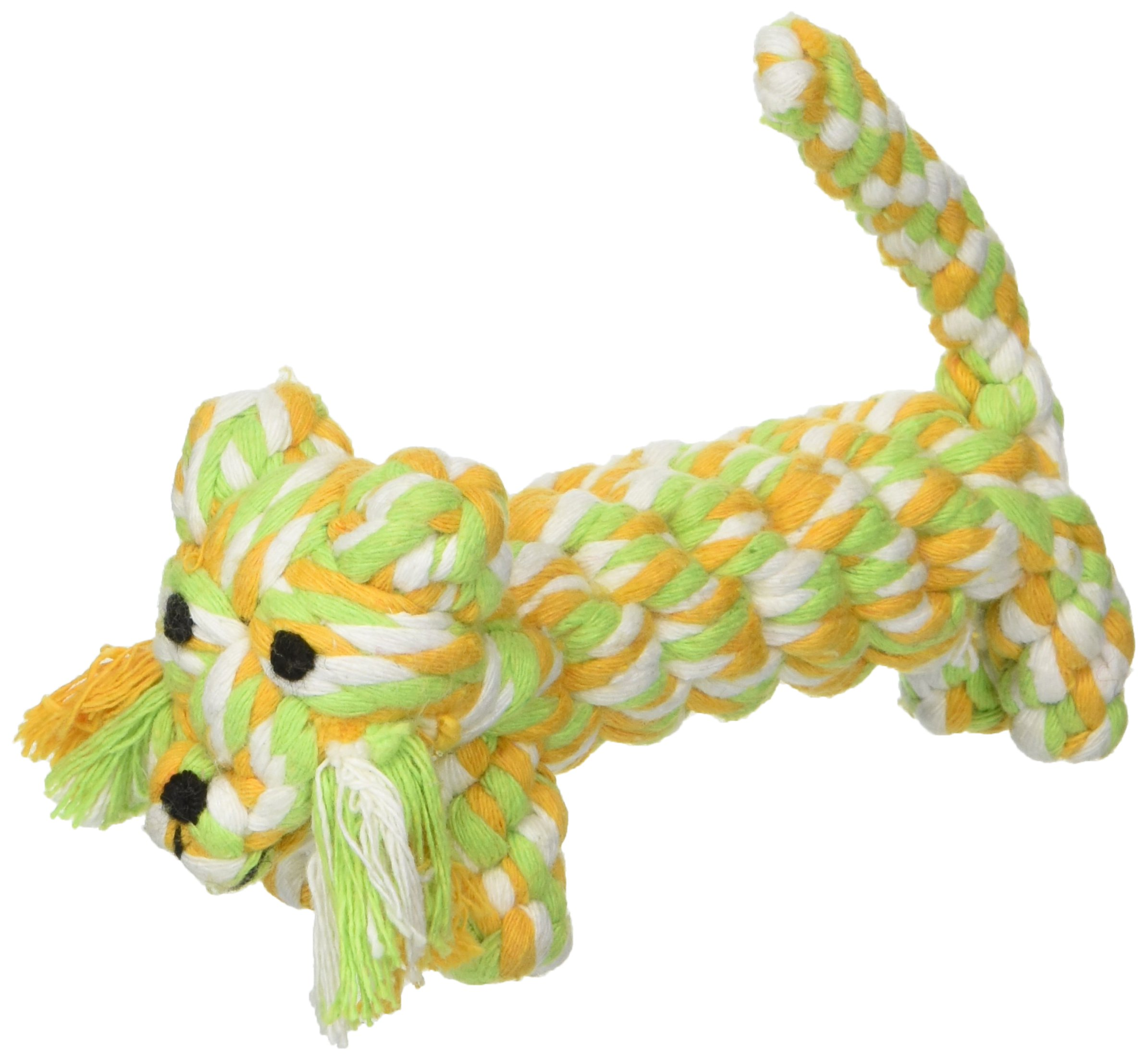 SMALLLEE_LUCKY_STORE XCW0015 Pet Tiger Rope Chew Toy for Dogs, Multicolor, Small