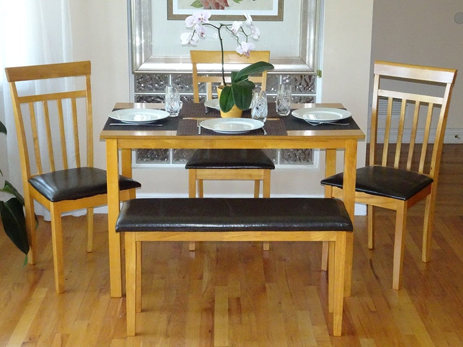Rattan Wicker Furniture Dining Kitchen Solid Wooden Bench Stained Padded Seat Classic Design in Maple Finish by Rattan Wicker Furniture (Image #2)