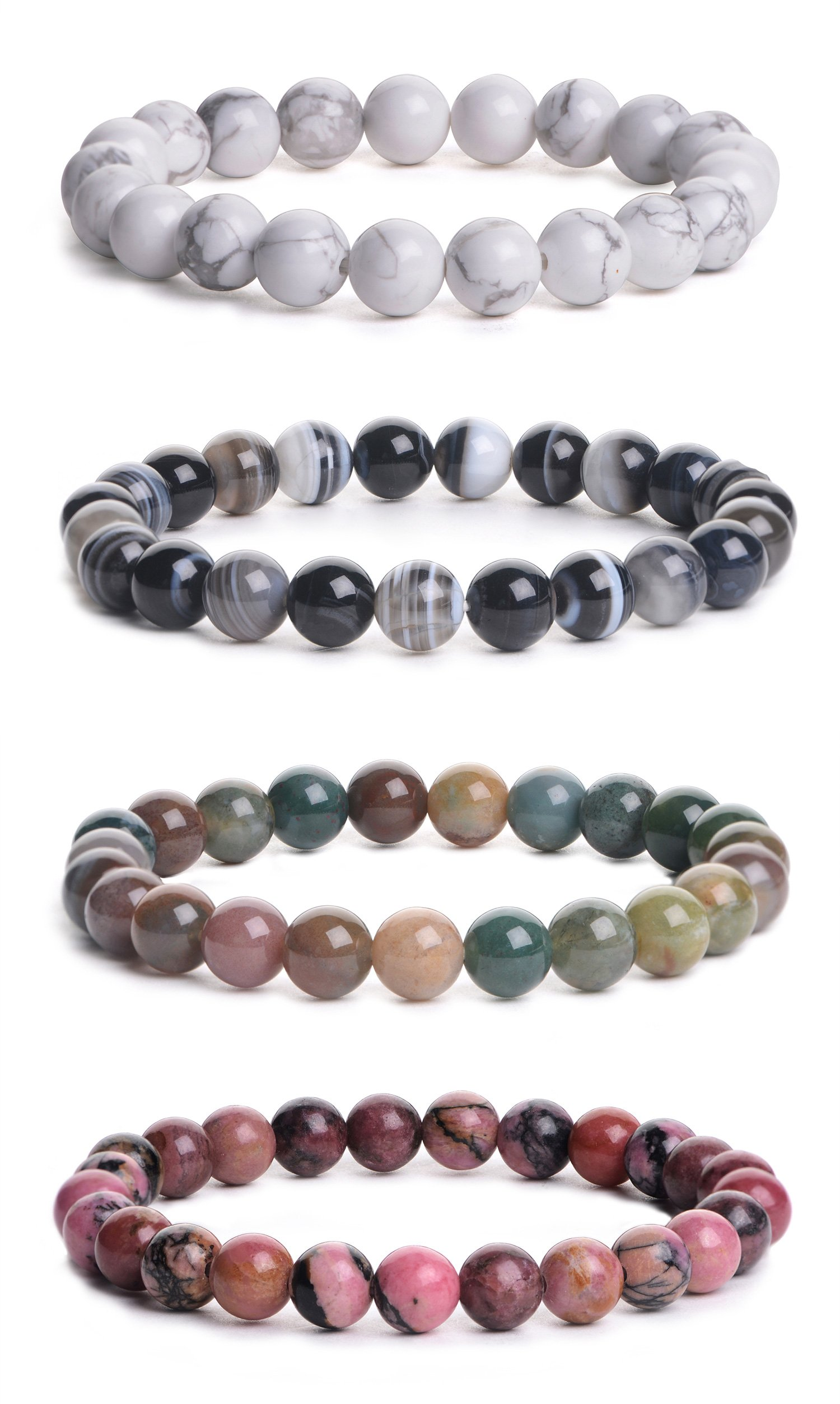 iSTONE Mens Womens Natural Gemstone 8MM Round Beads Healing Power Stretch Bracelet Set of 4 (White Howlite+Banded Agate+ Indian agate+Rhodonite)