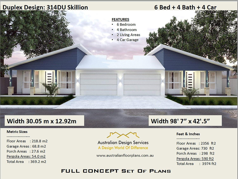 Amazon Com 2 Family Duplex House Plan 6 Bedroom 4 Bathroom 4 Car Garage Concept Plans Includes Detailed Floor Plan And Elevation Plans Ebook Morris Chris Designs Australian Kindle Store