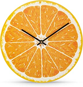 Wall Clock, Battery Operated, 12 Inch - Citrus Design Analog Clocks, Kiwi and Orange - Perfect for Kitchen Decor, Office, or Living Room - Unique and Modern Design, Silent, Tickless
